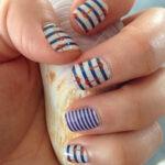 Nautical Nail Designs Using Jamberry Wraps and Sally Hansen Gel Polish