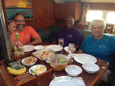 dining on Bay Poet charter