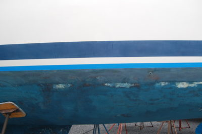 taped waterline boat